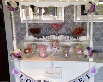 LOVE IS SWEET/sweet trolley decor/candy cart sign/Wedding Banner/Decoration Wedding Sign/Wedding Photo PropRustic wedding/dessert table sign