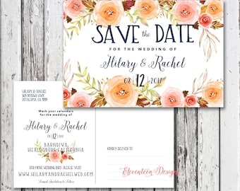 Save the Date Postcard, Boho Floral Navy blue, Pink Printable Save the Date Postcard, Rustic Save the Date Card