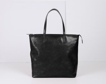 Large Top Zip Black Leather Tote - LEA Handmade Black Leather Tote Bag