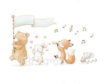 "Nursery Art ""ANIMAL PARADE"" Art Print, Kids Illustration."