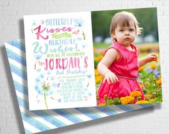 Butterfly Birthday Invitation | Dandelion Birthday Invitation | Butterfly Kisses & Birthday Wishes | Butterflies| flowers| DIGITAL FILE ONLY
