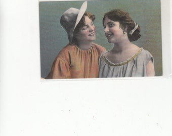 1910's Postcard With Two Young Ladies Smiling, Gay Interest, Unused