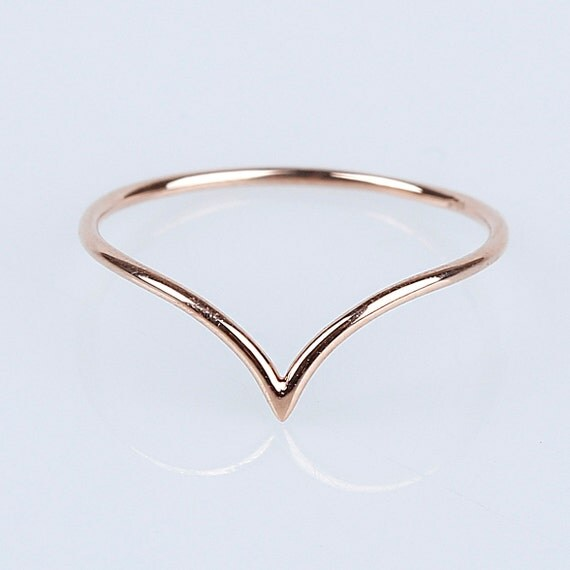 14k solid gold chevron ring 14k solid gold thin band 14k