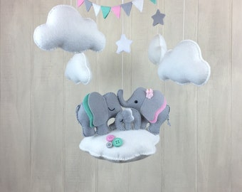 Baby mobile - Elephant mobile - nursery hanging decor - baby crib mobile - elephant family - star mobile - cloud mobile - custom colors