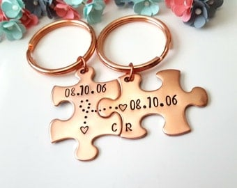 7 Year Anniversary, Copper Anniversary, 7th Anniversary Gift, Couple Keychains, Spouse Gift, Hubby Gift, Couple Keyrings, Key Fob Customized