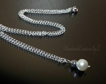 Pearl Pendant, Fresh Water Pearl, Sterling Silver, Tibetan, Chakra, Womens Wedding Fashion, Bridal Jewelry