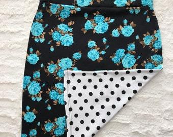Floral Knit Pencil Skirt with polka dot mismatch