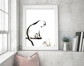 Cat Minimalist Painting Print, Black and White Wall Art, Ink Painting, Cat Art, Wall Art