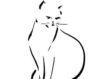 Minimalist Cat Wall Print, Cat Ink Drawing, Modern Black and White Home Decor, Cat Art