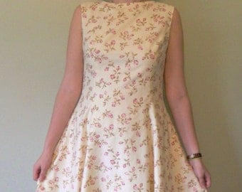 Cream A-Line Women's Dress with Pink Roses