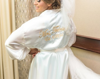 Personalized Full Length Satin Bridal Robe with Title or Name on the Back
