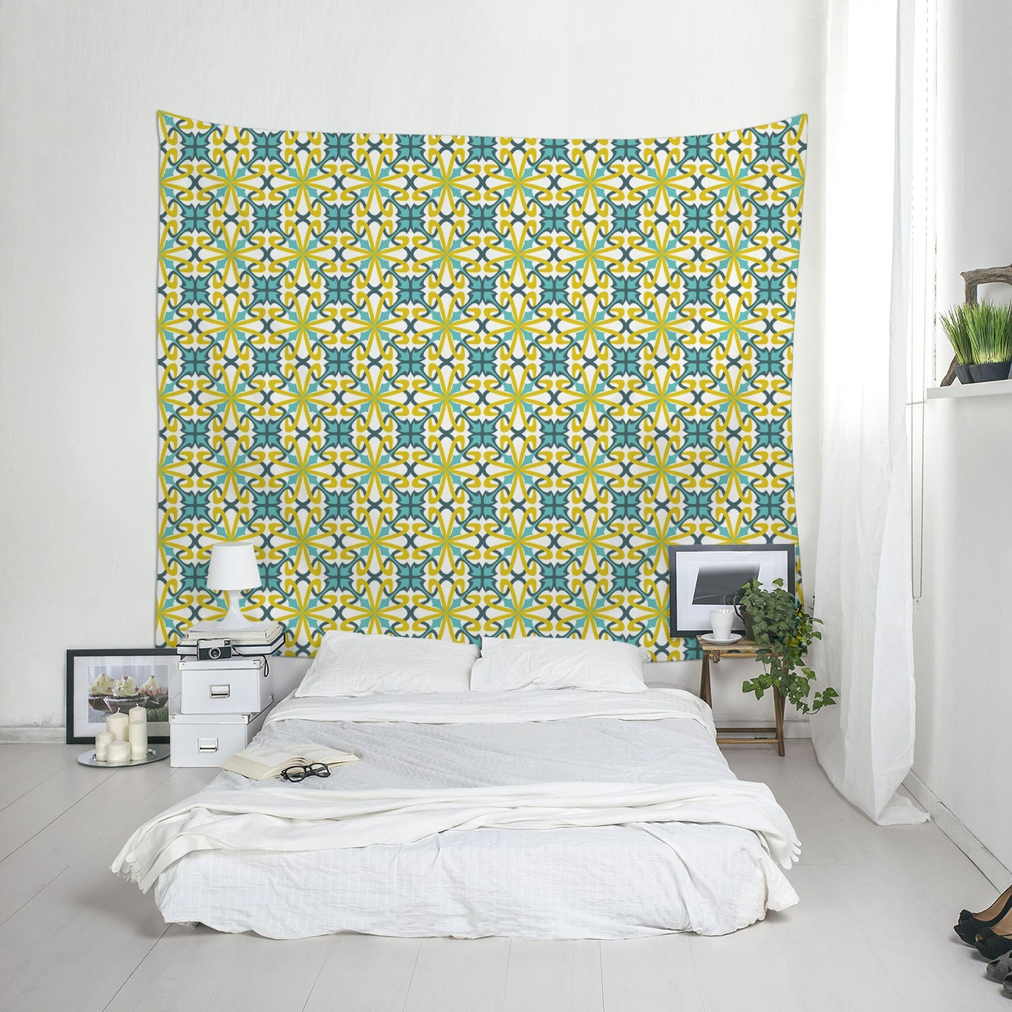 Yellow And Blue Wall Tapestry Ceramic Tile Art Dorm