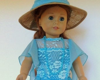 """American Girl Edwardian Dress Inspired by Downton Abbey. 3-Piece Set with Hat. 18"""" Doll Edwardian Dress, Also Fits Maplelea and Gotz"""