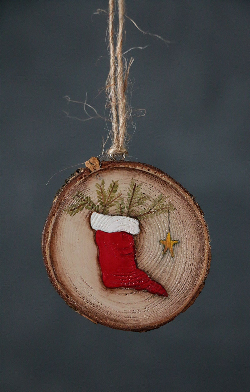 Personalized Ornament Hand Painted Ornaments Wood Slice