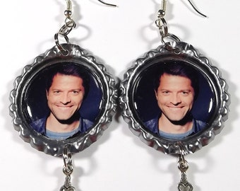 Misha Collins Earrings - 1 Pair - With I Love You Charms Castiel Supernatural