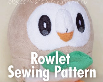 DIY Pokemon Rowlet Plush Sewing Pattern + Eye Embroidery Files
