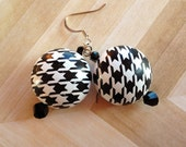 Black and White Metal Earrings,  Abstract Earrings, Statement Earrings,For Her, Metal Earrings, Black and White Earrings