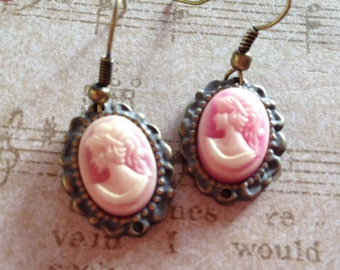 Pale Pink Cameo Earrings, Rhinestone Cameo Earrings, Gifts For Her