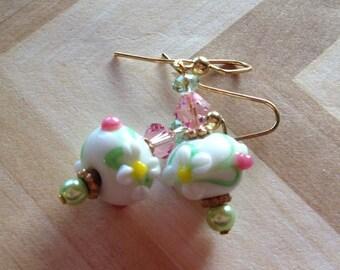 Beadwork, Lampwork Flower Earrings, Lampwork Floral Earrings, Glass Earrings, Statement Earrings