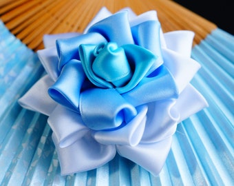 White and blue rose Kanzashi hair clip