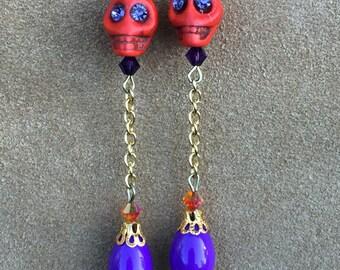 Samhain's Fire Sugar Skull Earrings All Hallows' Eve Day of the Dead