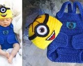 Minion baby clothing set crochet baby costume crochet diaper cover set baby clothes set baby minion costume baby boy crochet baby outfit