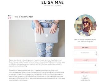 "Responsive Wordpress Blog Theme ""Elisa"" - Feminine Self-Hosted Wordpress Blog Theme"