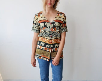 Vintage Short Sleeve Blouse with Jungle/Tribal Print