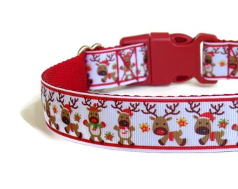 Red Reindeer Dog Collar - Christmas Dog Collar (Buckle or Martingale)