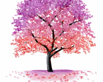 Pink Blossom Tree Painting - Fine Art Print by Emily Luella