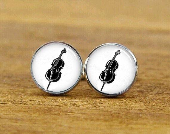 Cello Cufflinks, Cello, Custom Musical Instrument, Personalized Cufflinks, Custom Wedding Cufflinks, Round, Square Cufflinks, Tie Bar,  Set