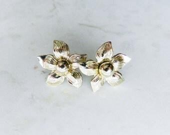 Vintage Silver Flower Stud Earrings