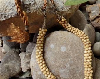 Crochet Bone Seed Shape Beaded Necklace - Egyptian - [#203- DC - Box 2]