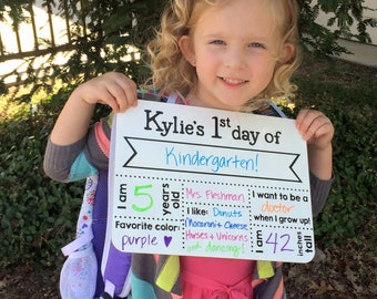 First Day of School Sign - Customize & Print - INSTANT DOWNLOAD - Back to School