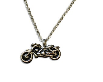 Silver Motorcycle Cremation Urn Keepsake Memorial Ashes Pendant Necklace Stainless Steel 2171