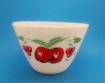 Fire King apples and Cherries on White Bowl,  8 1/2 Inches