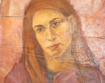 Vintage Female Portrait Oil Painting