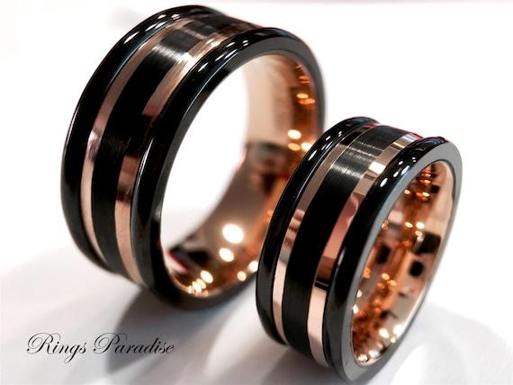 Matching Wedding Rings Rose Gold Tungsten Promise Ring Rose