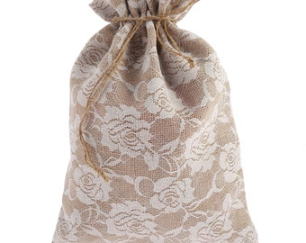 Jute Gift Bags with Vintage Lace Finish perfect wedding favour bags