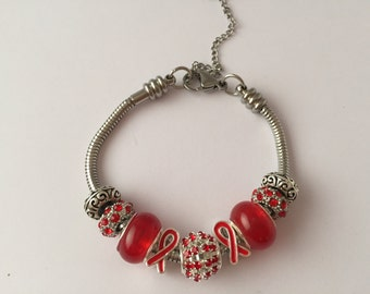 Bracelet charm's collection Red Ribbon ref 603
