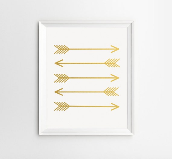 Gold Arrow Wall Decor : Gold wall art arrow prints by