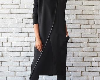 601466b0d7b76 Gilet Oversize Coat Long asymétrique sans manches noir en néoprène lâche  veste noir tunique