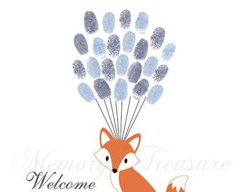 Baby Shower Guest Book Alternative Fox Baby Shower Fox Thumbprint Guestbook Fox Fingerprint Guestbook Fox Baby Shower Thumbprint Fox Shower