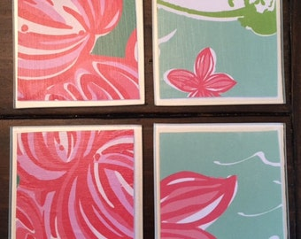 UpCycled Lilly Pulitzer Inspired Coasters-Hibiscus