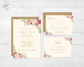 Floral Wedding Invitation Printable Boho Wedding Invitation Suite Bohemian Wedding Invite Floral Spring Summer Wedding Barn I Collection