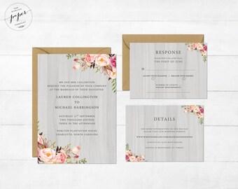 Rustic Wedding Invite Floral Wedding Invitation Wedding Invite Wedding Invite Printable Wedding Invitation Suite Barn 2 Collection