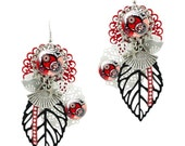 Big double Glass dome earrings Polka-dot flower white red black pink handmade in France by Milacrea