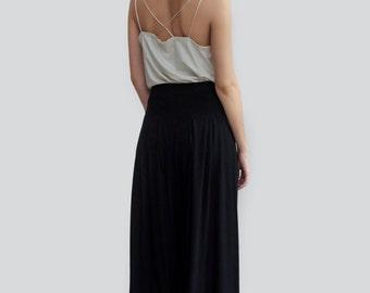 Organic Pants, organic cotton, sustain clothing, black wide leg pants, eco friendly high waist trousers