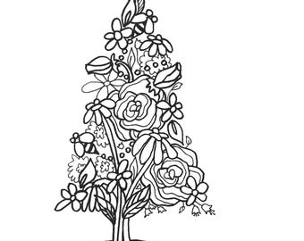 10 Trees Set1 ColoringPages Original Art Coloring Book For AdultsColoring Therapy Pages