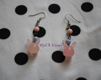 Rabbit earrings pink